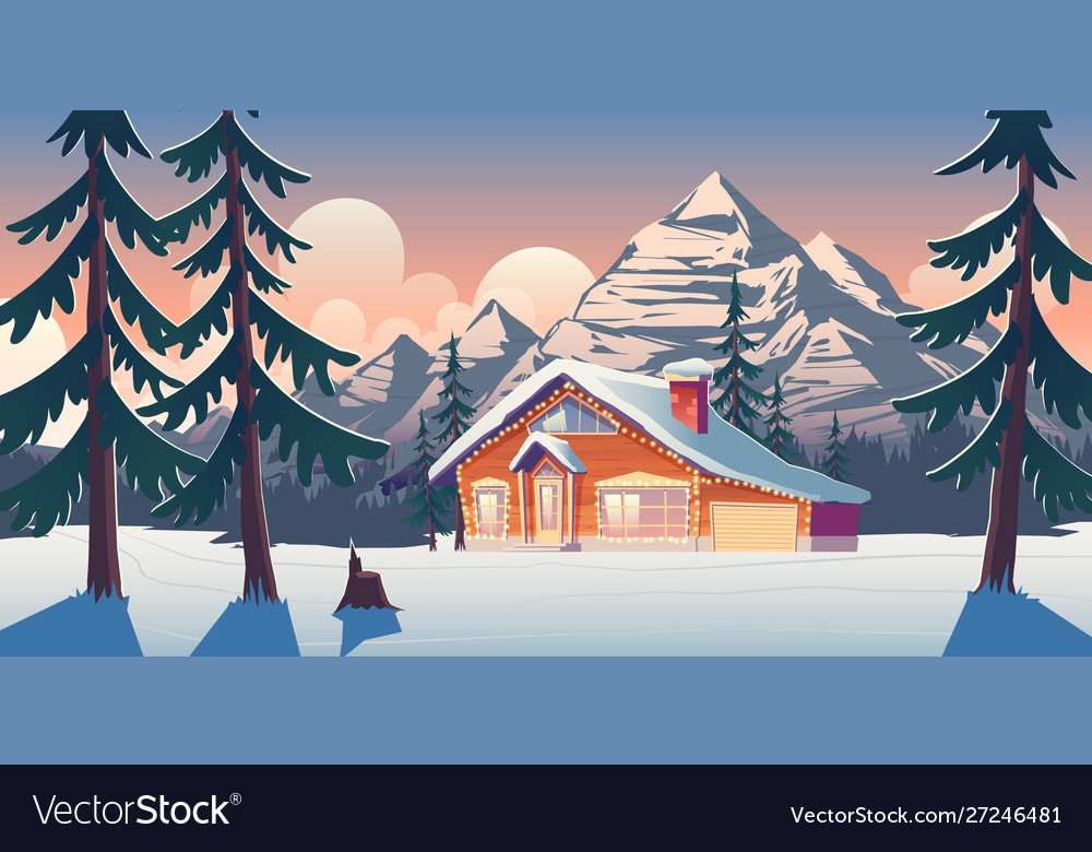 Cottage house in winter mountains cartoon