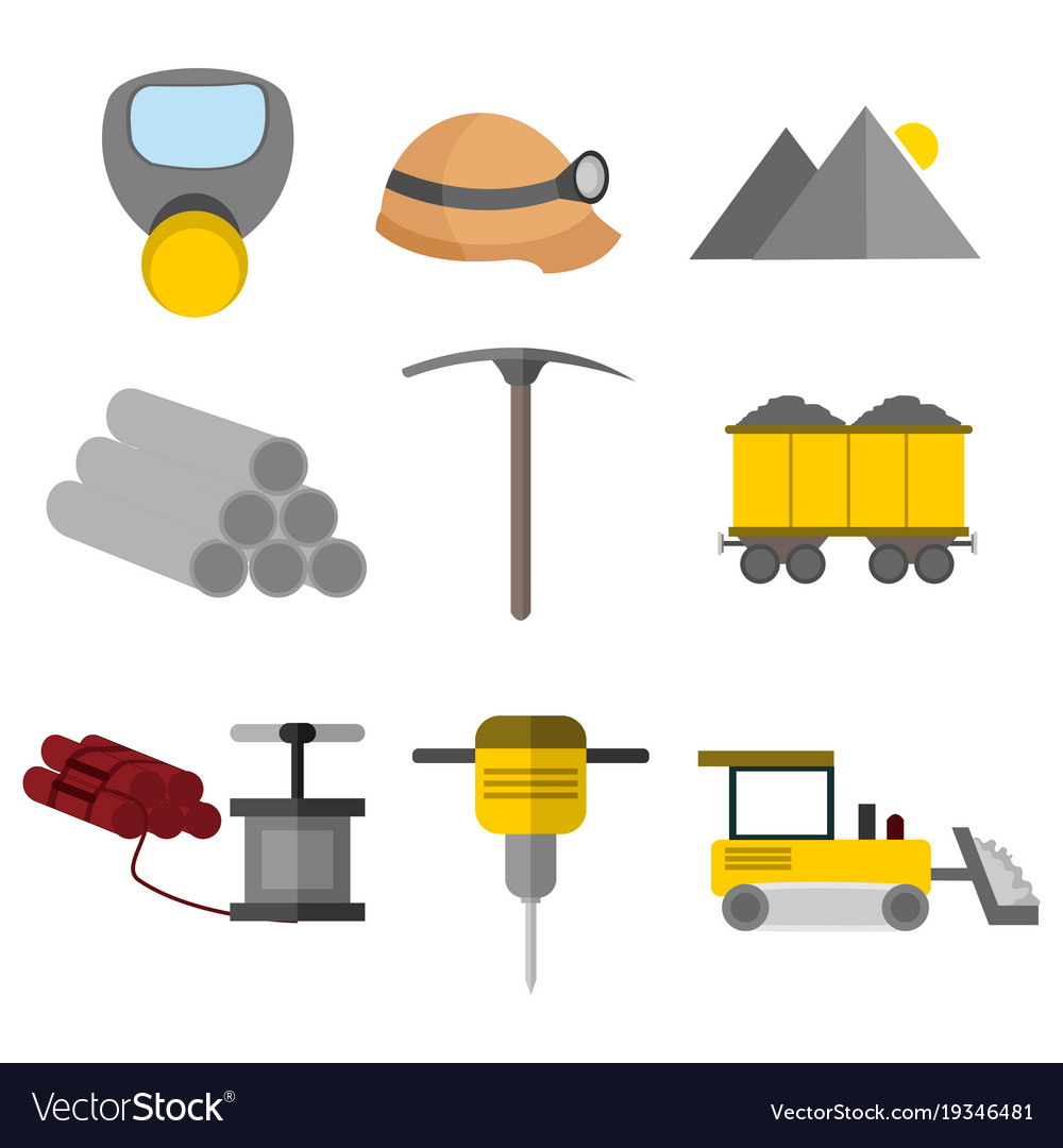 Flat style equipment tool mining graphic set