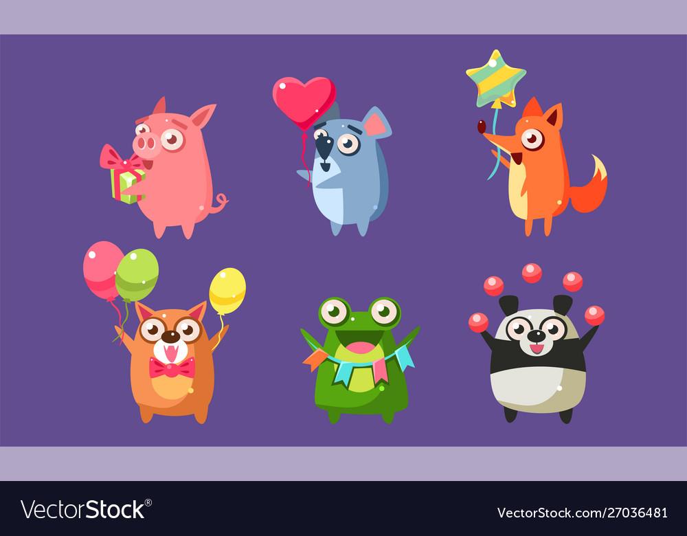 Funny animal characters having fun at birthday