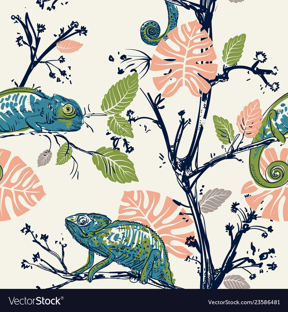 Hand drawn seamless pattern with chameleons and