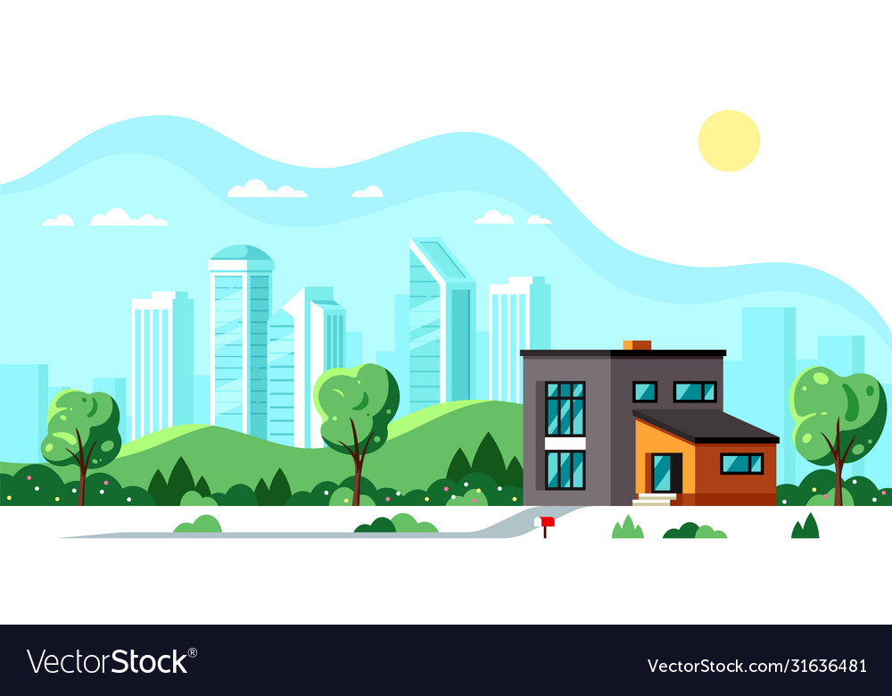 Modern house with big city on background