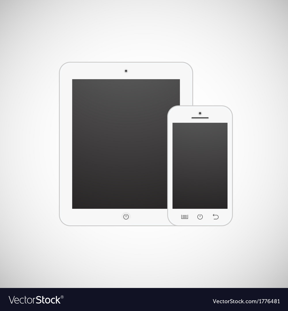 Realistic white tablet computer and mobile phone vector image