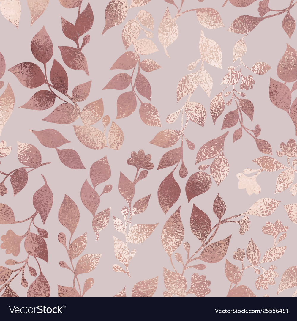 Seamless Rose Gold Floral And Foliage Wallpaper Pattern This