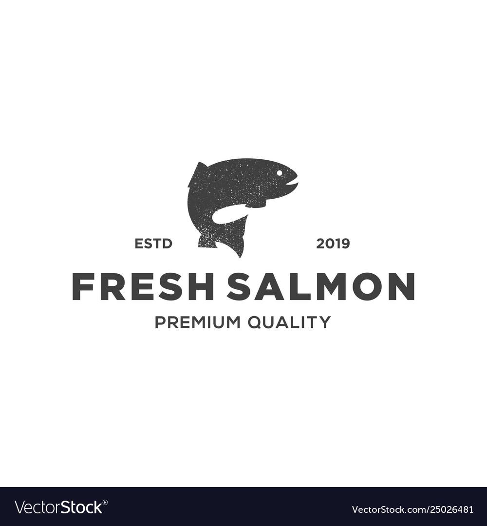 Salmon fish logo seafood label badge