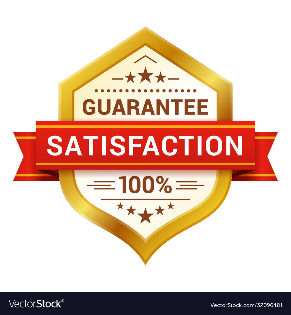 Satisfaction guaranteed badge with ribbon stars