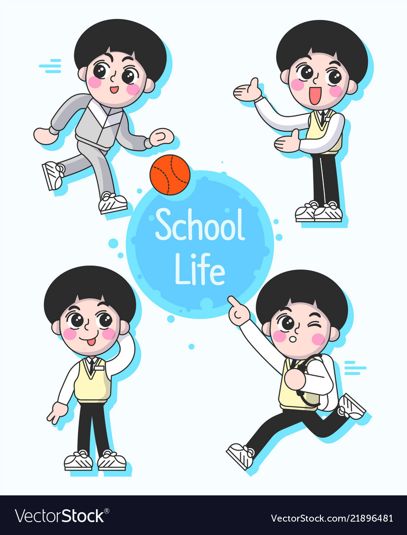 School boy pupil in different poses and actions