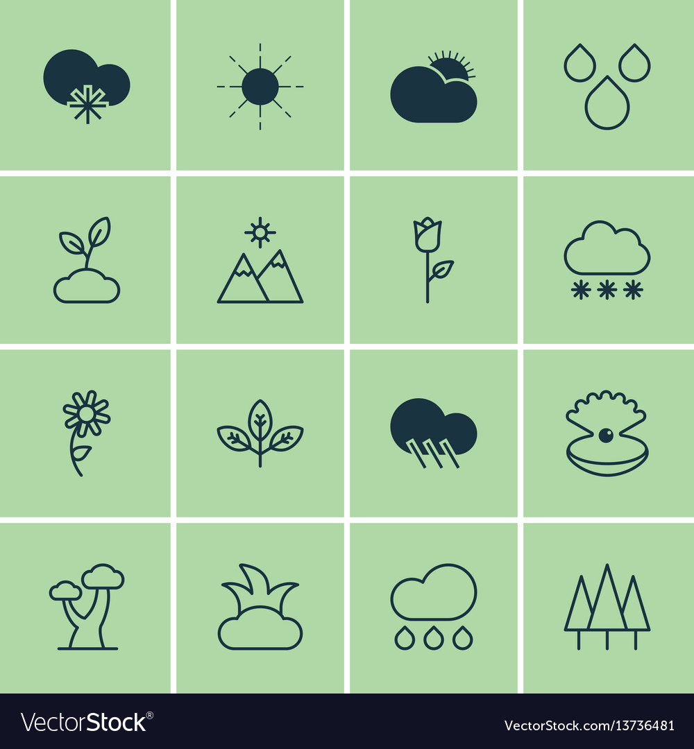 Set of 16 nature icons includes sprout raindrop