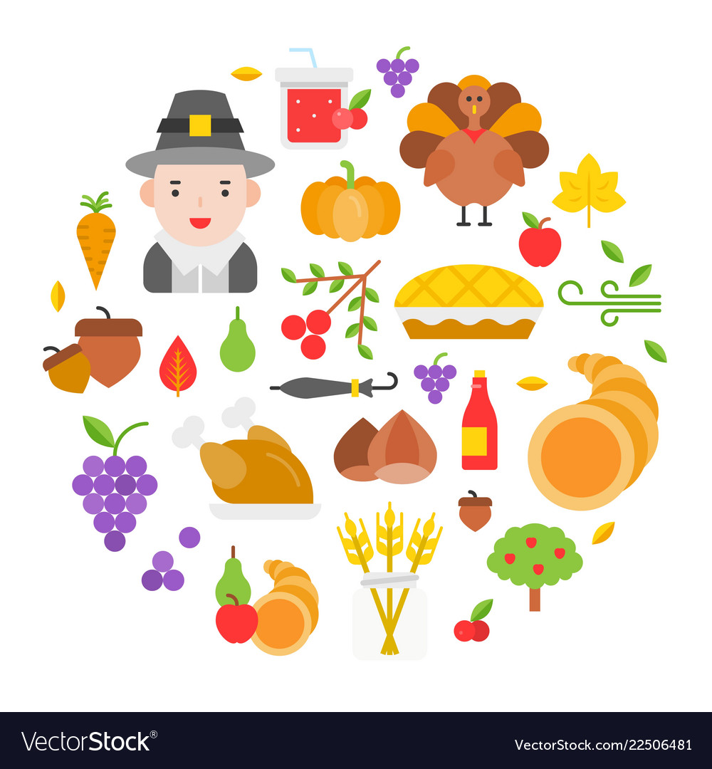 Thanksgiving icon arrange as circle shape for use