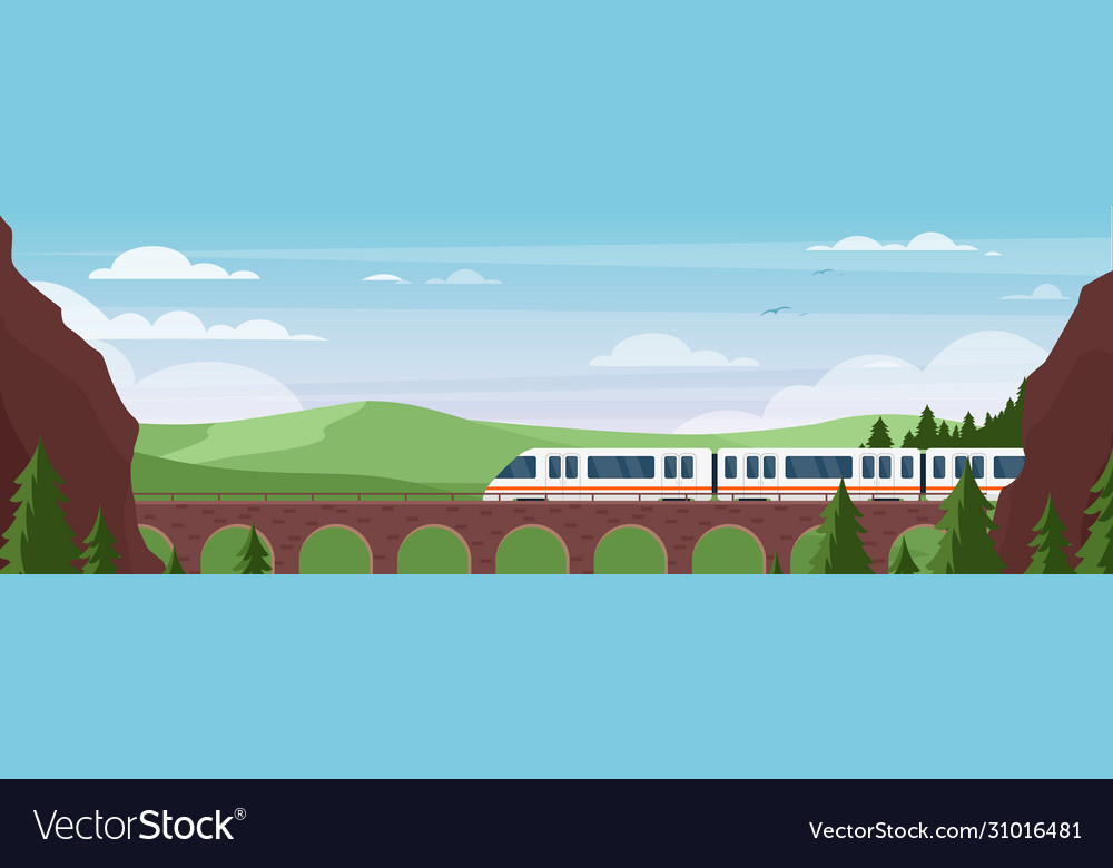 Train traveling on bridge in summer landscape