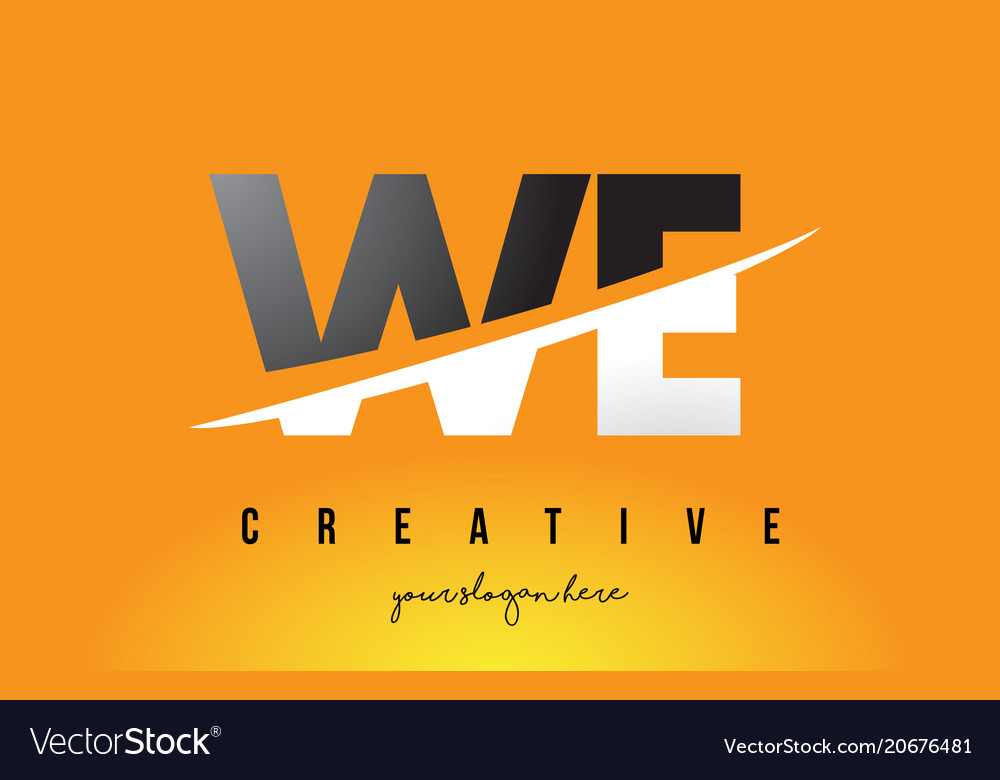 We w e letter modern logo design with yellow
