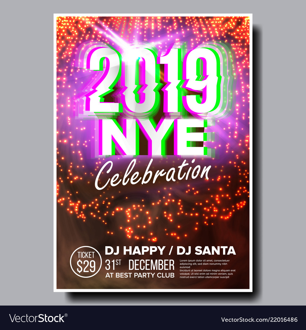 2019 party flyer poster happy new year