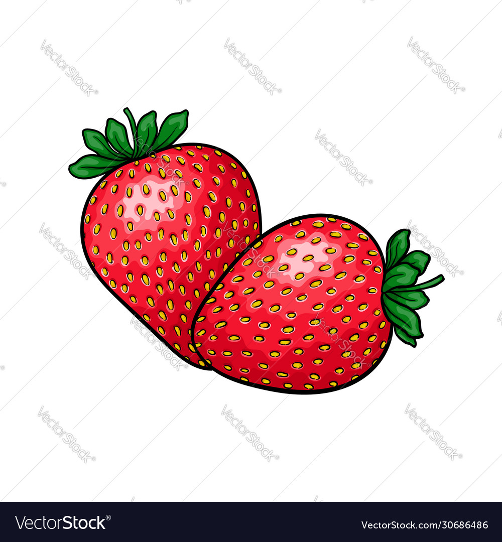 Beautiful cartoon red strawberry with black