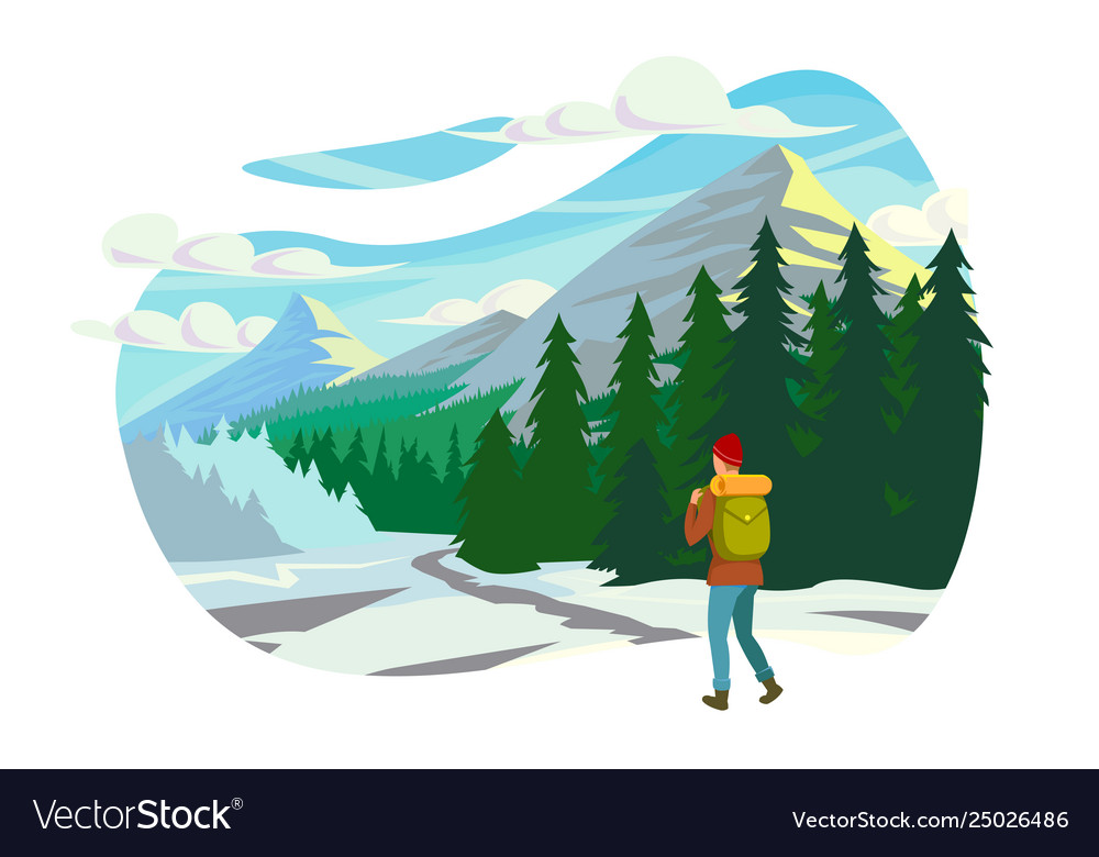 Flat young man with winter clothes and backpack in