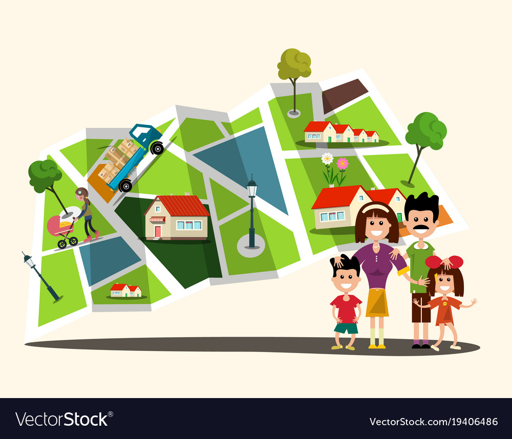 Happy family with city map on background flat