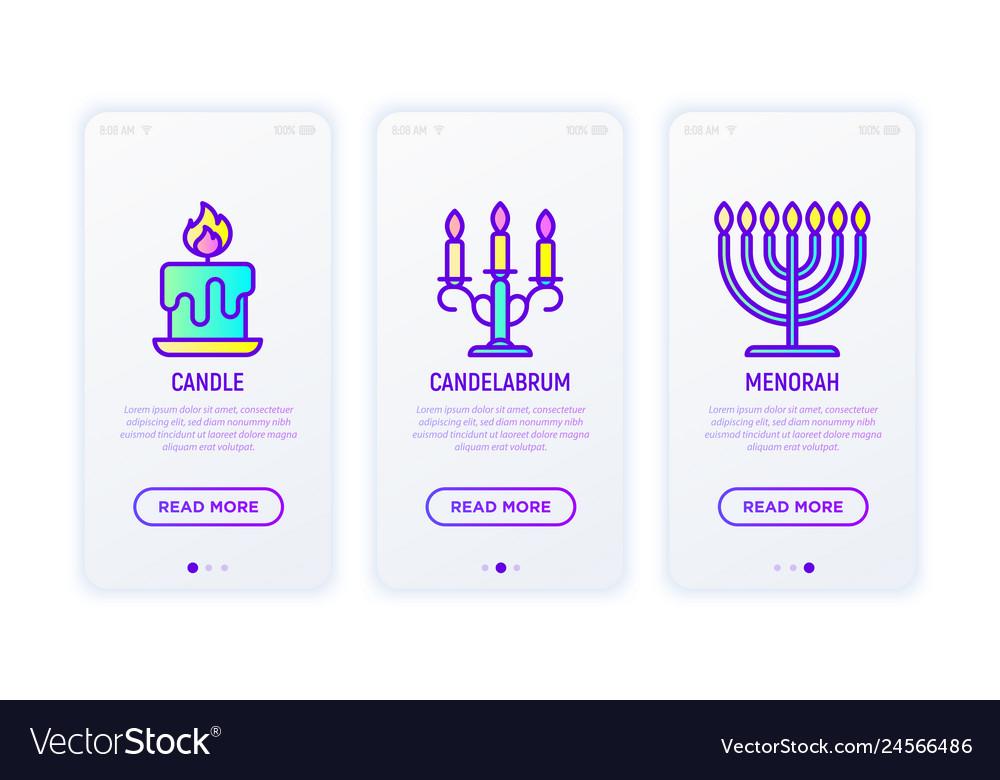 Lighting line icons candle candelabrum menorah