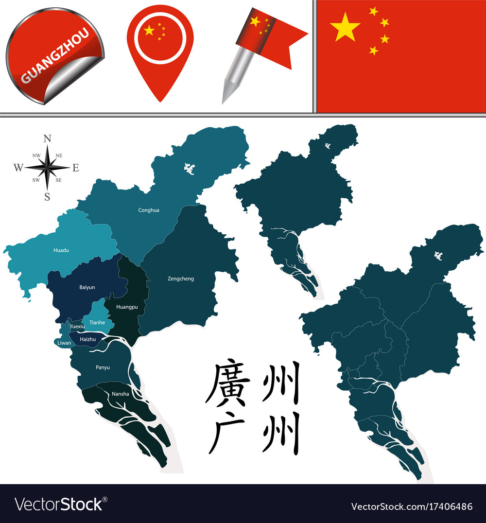 Map of guangzhou with divisions Royalty Free Vector Image