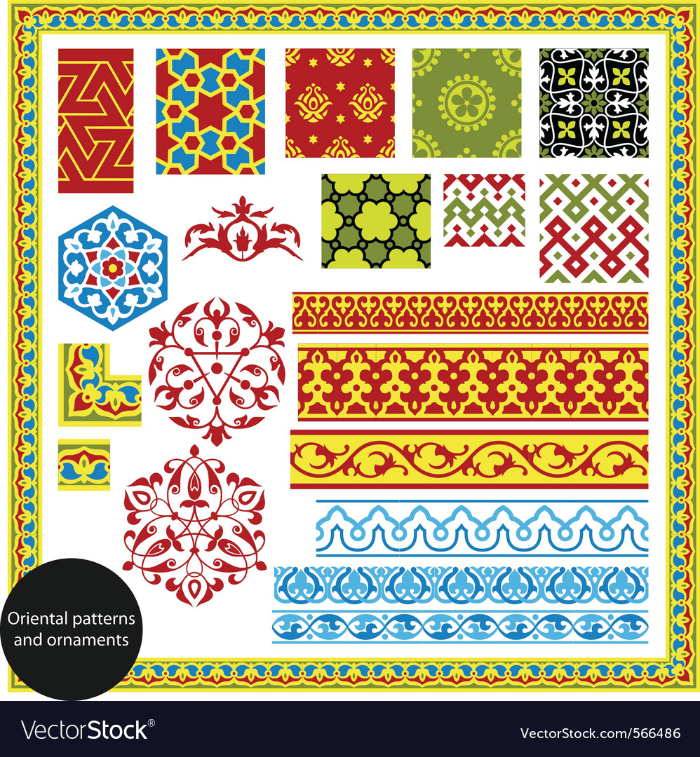 Oriental patterns vector image