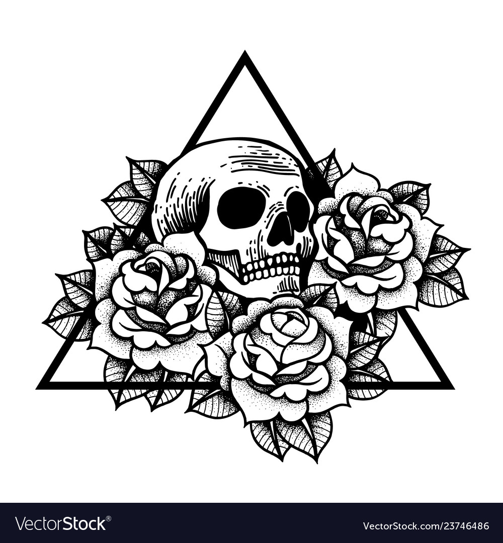 Rose and skull tattoo with sacred geometry frame
