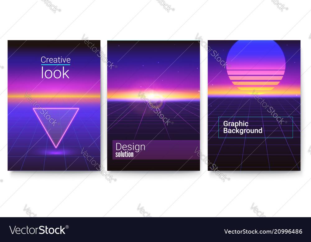 Set retro futuristic covers abstract digital