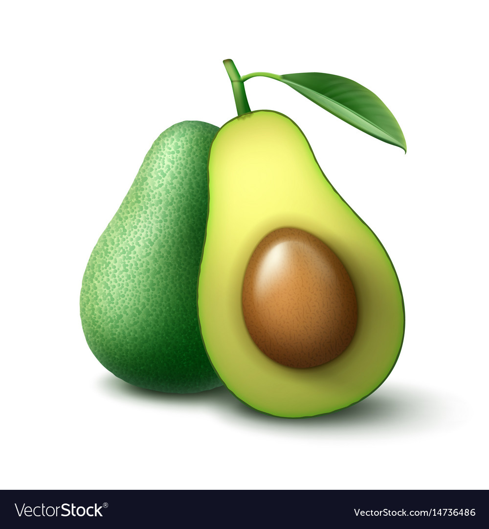 Whole and half cut avocado