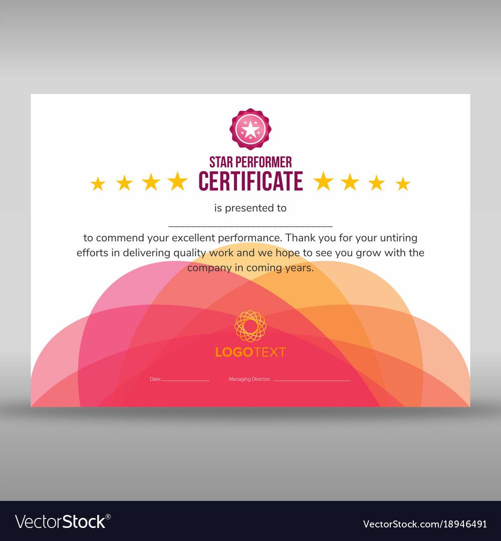 star performer certificate templates
