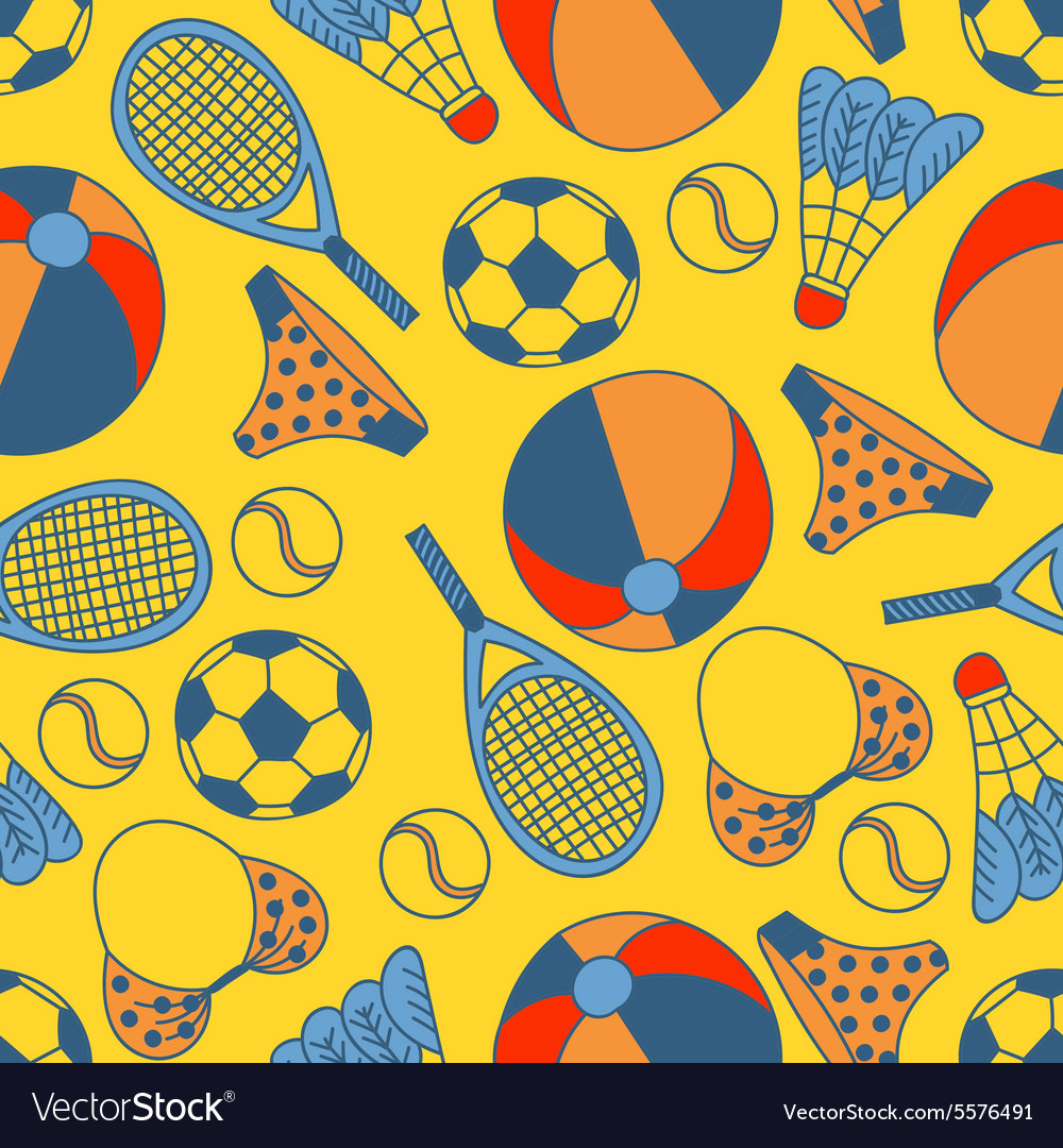 Abstract seamless pattern with hand drawn summer vector image