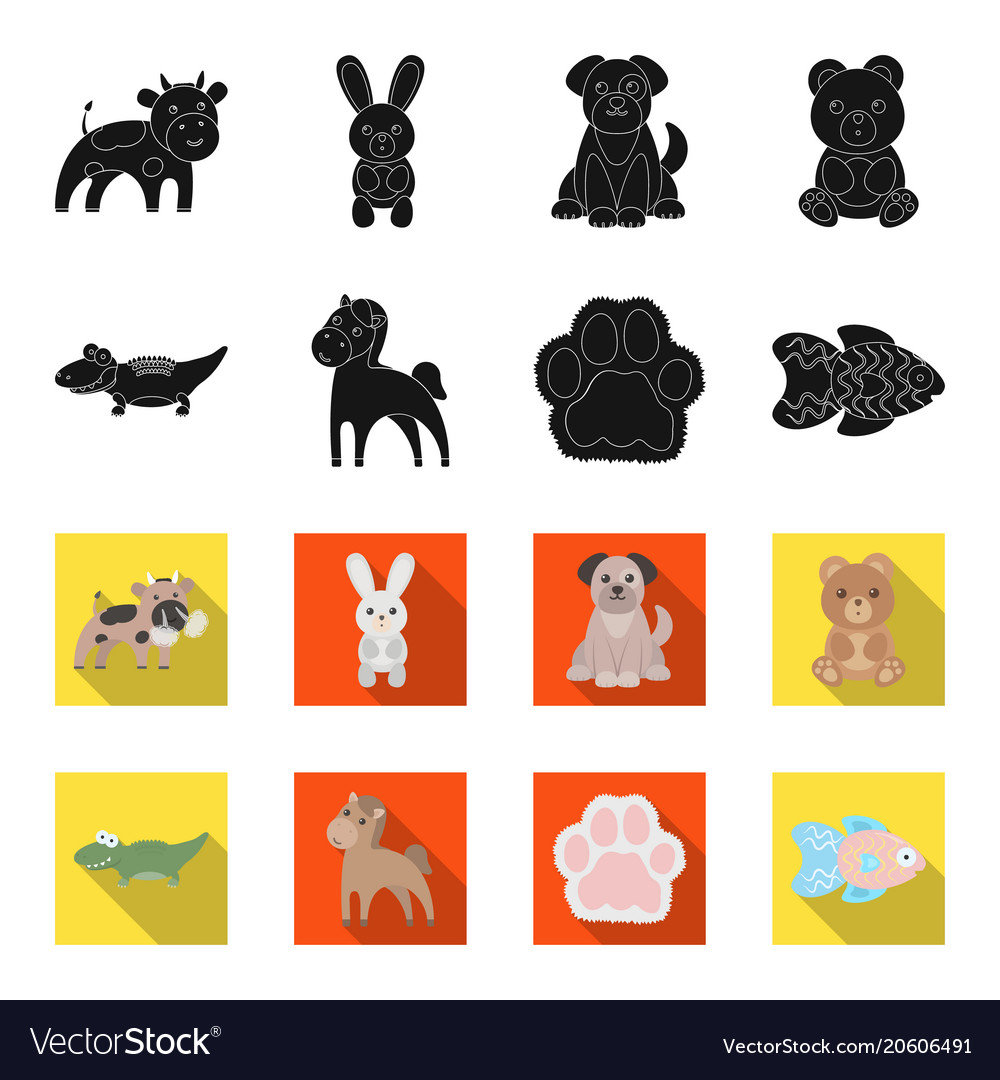 An unrealistic blackflet animal icons in set vector image