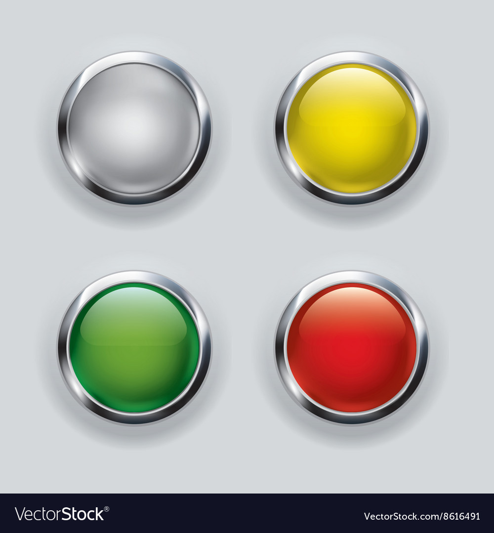 Button set with metallic elements on background