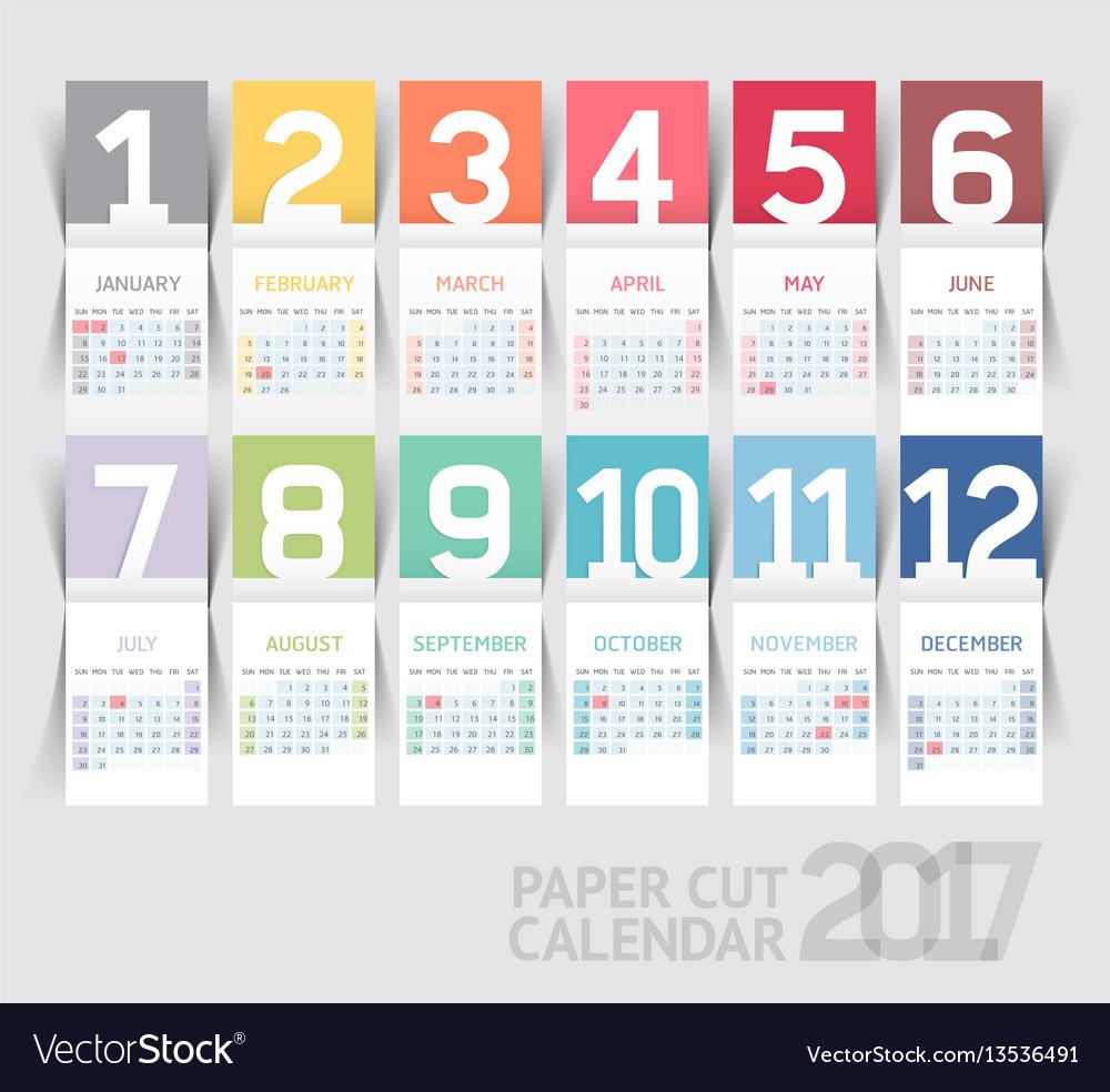 Calendar 2017 print template design paper folding vector image