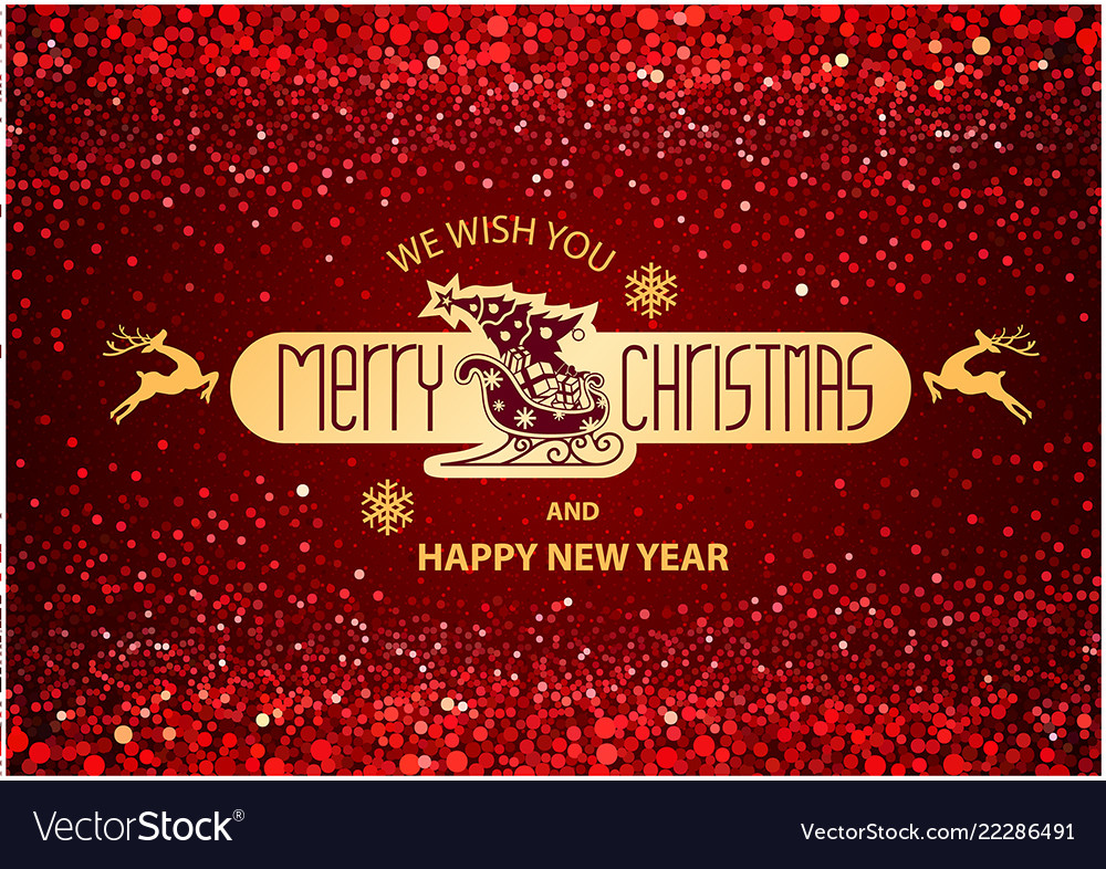 Christmas inscription on red background