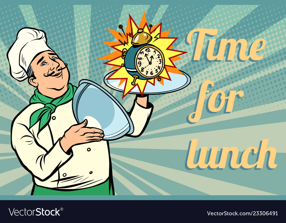 Clock time for lunch chef with tray with lid