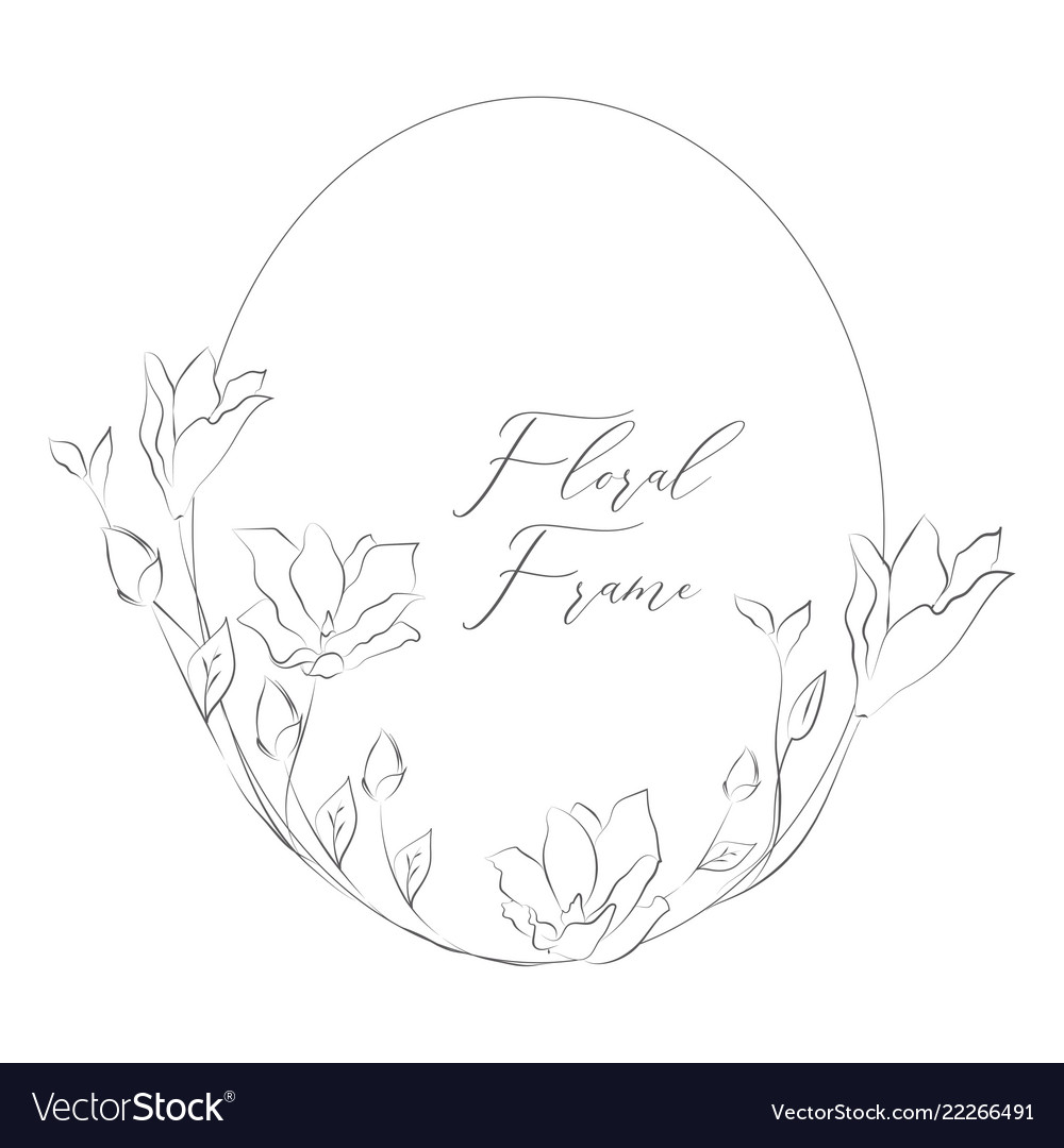 Delicate floristic round frame with flowers