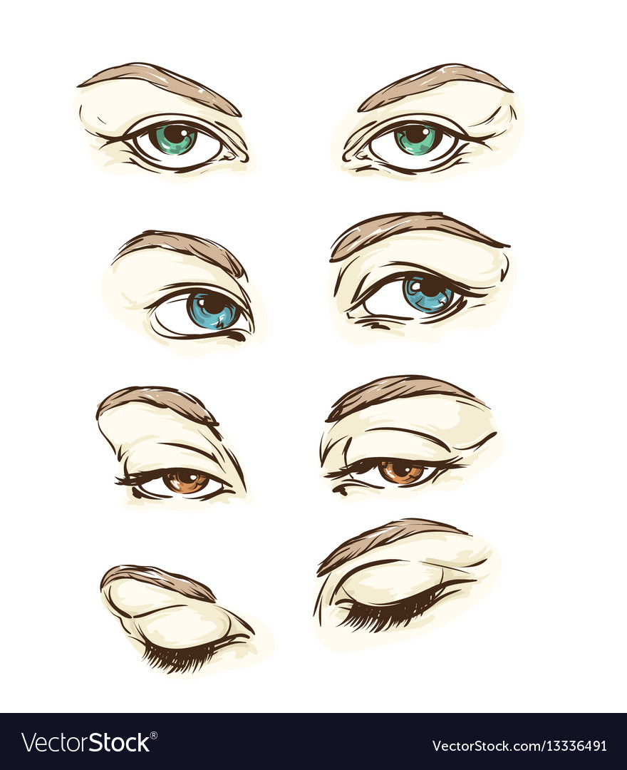 Hand drawn womens eyes vintage
