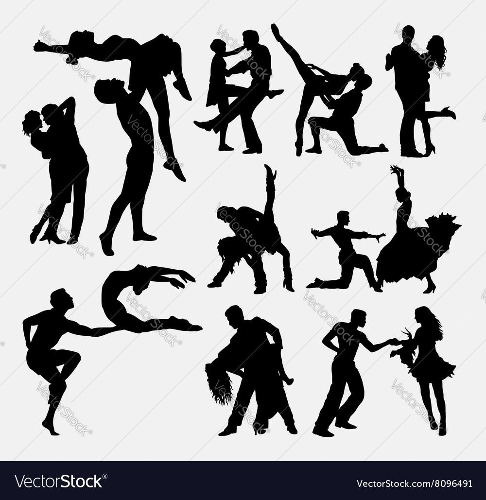 Happy dance couple silhouette vector image