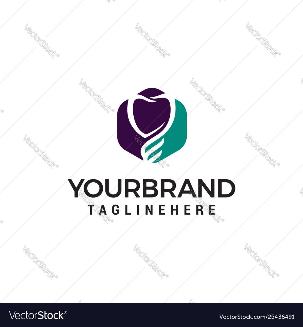 Heart care logo design concept template