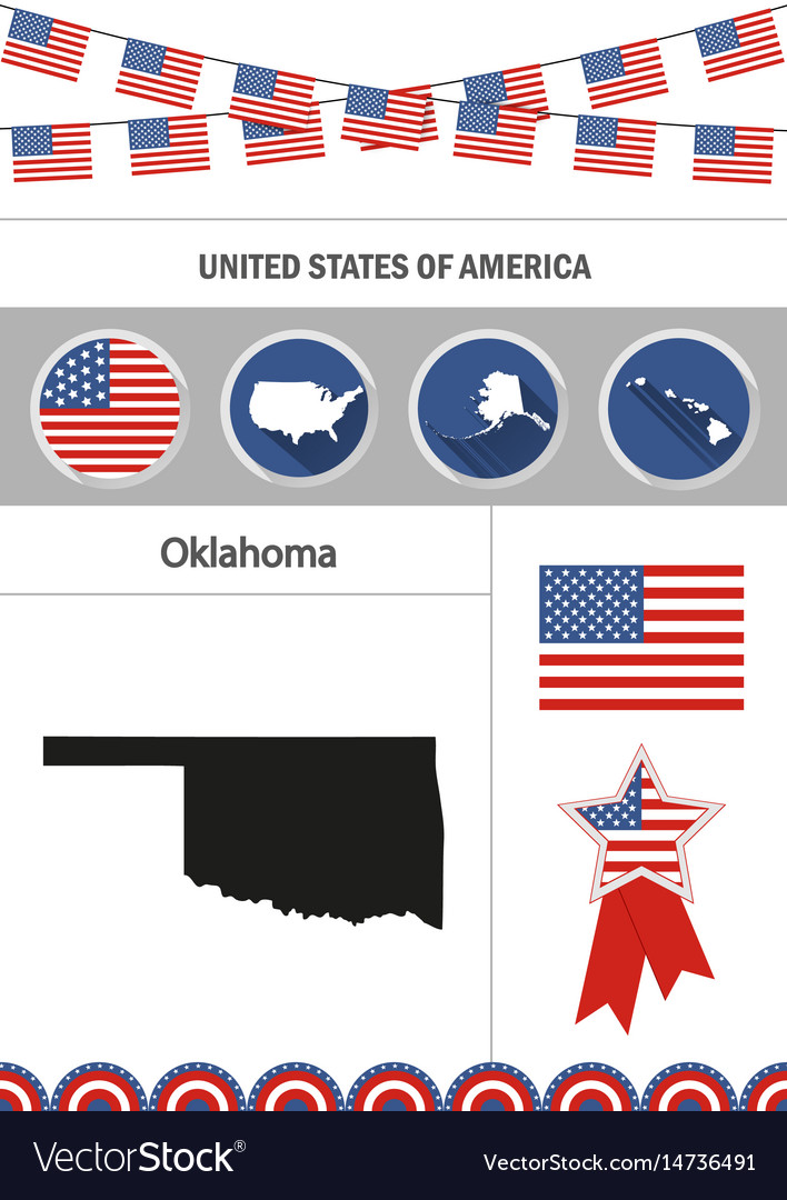 Map of oklahoma set of flat design icons