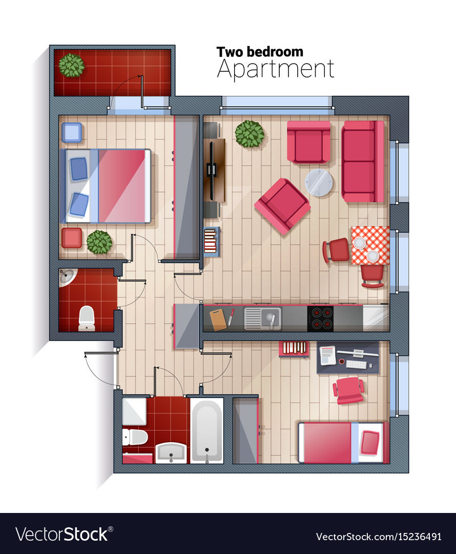 Modern two bedroom apartment top view