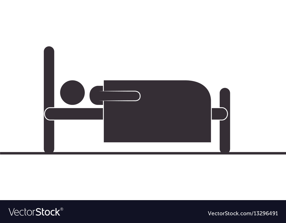Person silhouette in bed icon