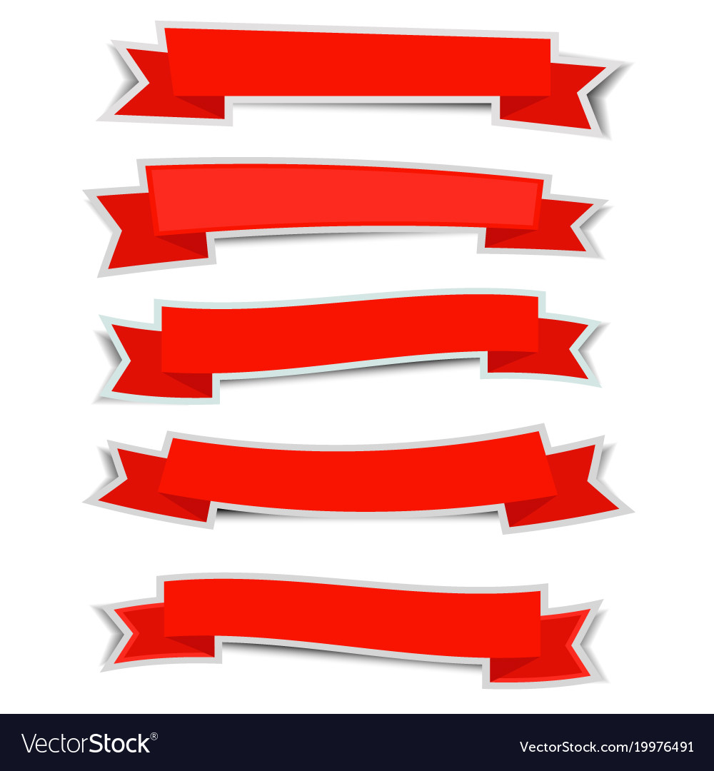 Red ribbon banners sticker with shadow on white