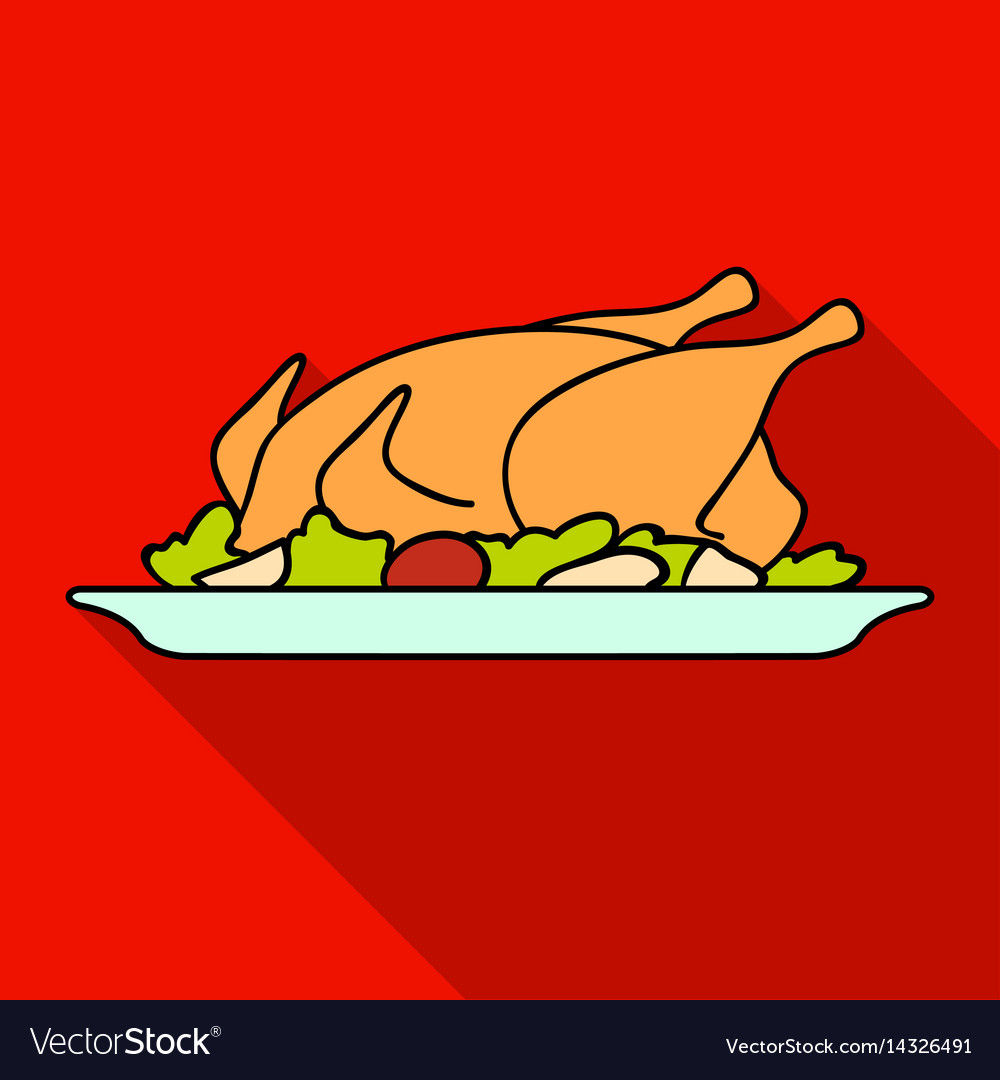 Roasted chicken with garnish icon in flat style vector image