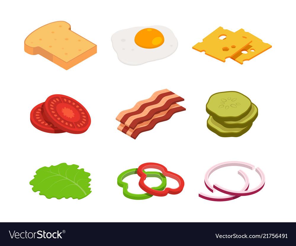 Sandwich isometric constructor food