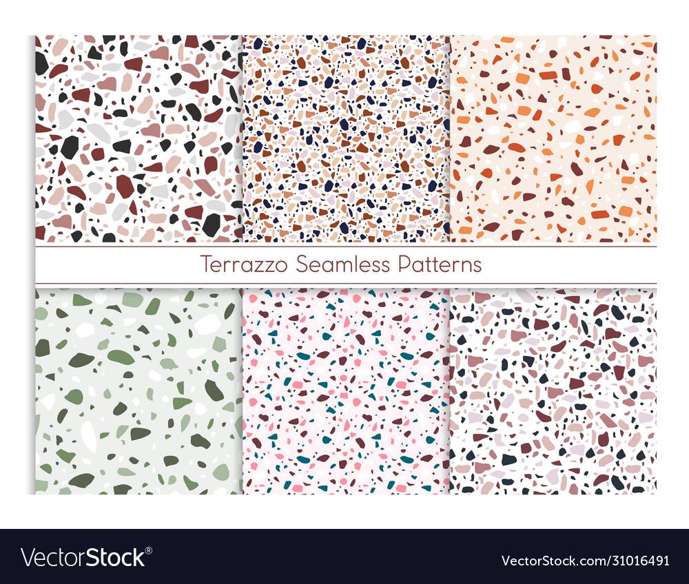 Terrazzo seamless pattern set