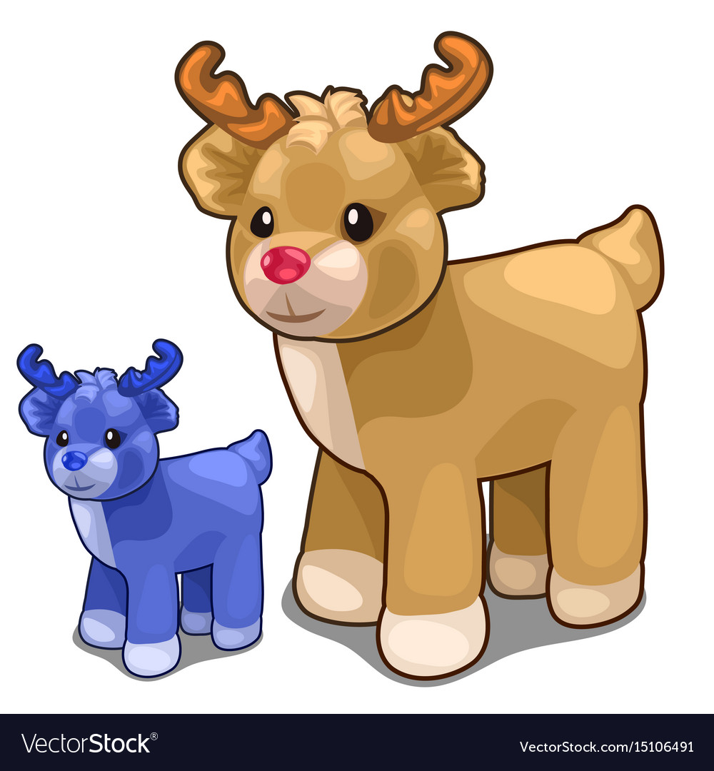 Two deer toys of different colors blue and brown