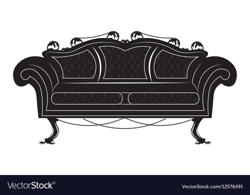 Attirant Vintage Gothic Style Sofa Furniture Vector Image