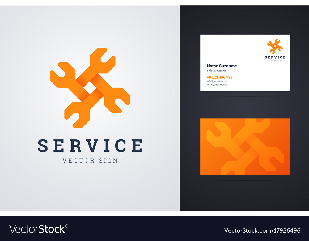 Auto repair service logo and business card vector image reheart Images