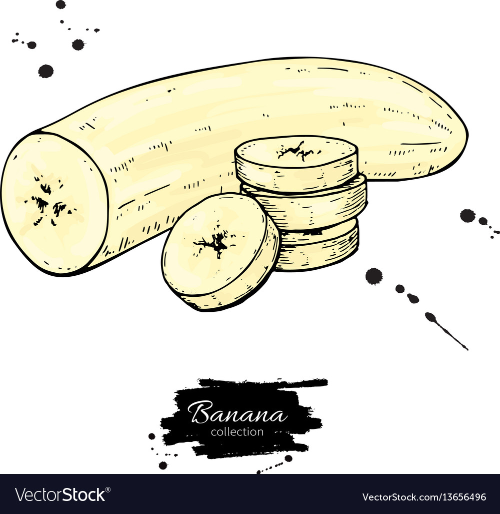 Banana sliced and peeled piece drawing