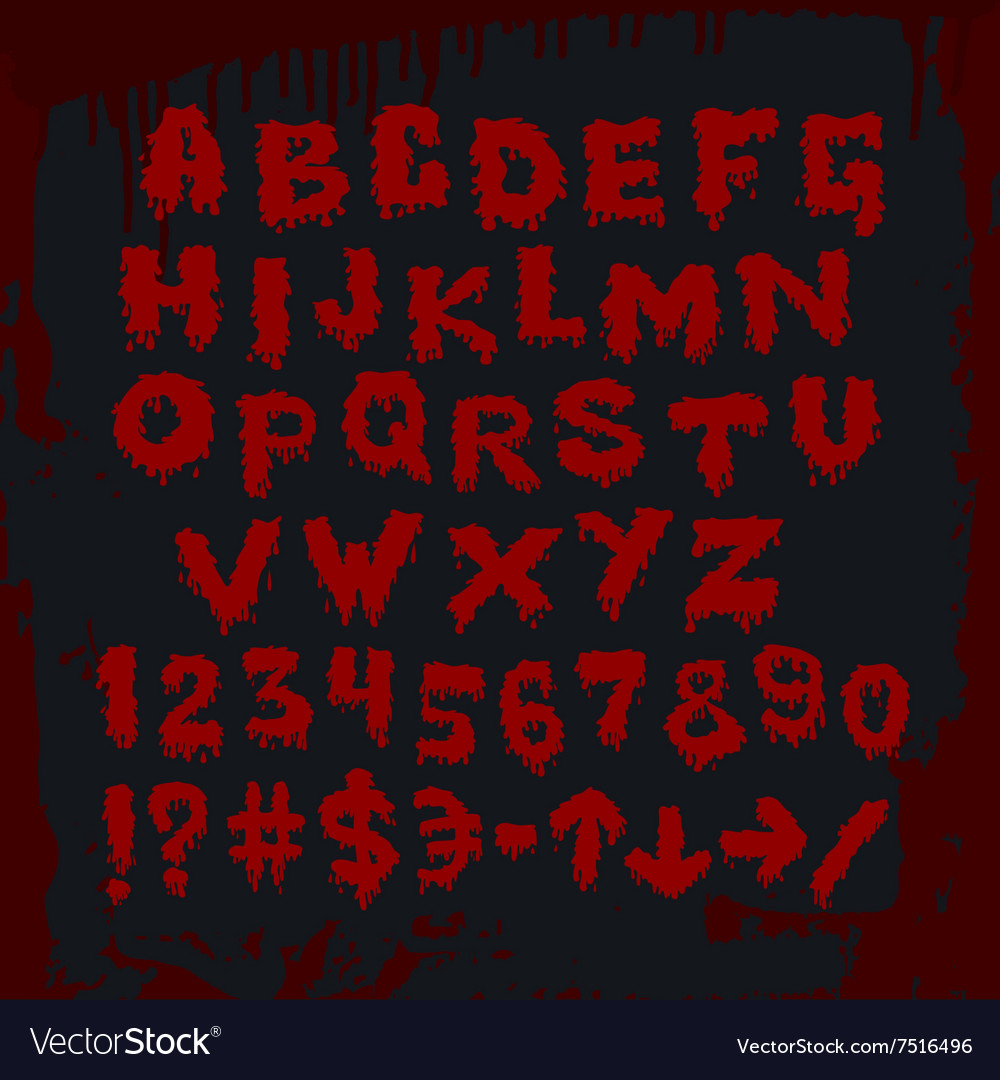 Bloody alphabet and other signs