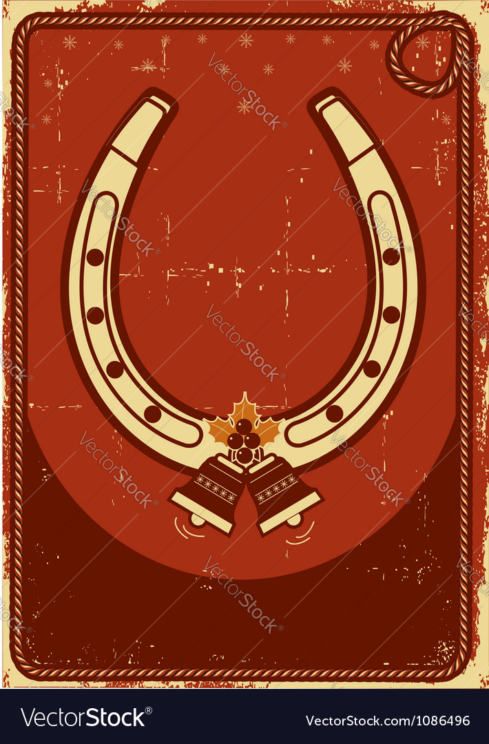 Christmas card background with lucky horseshoe and vector image