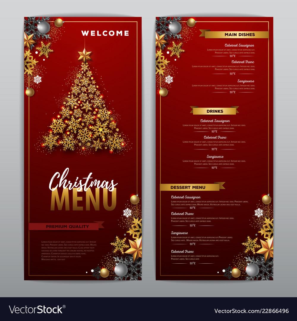 Christmas menu design with golden tree