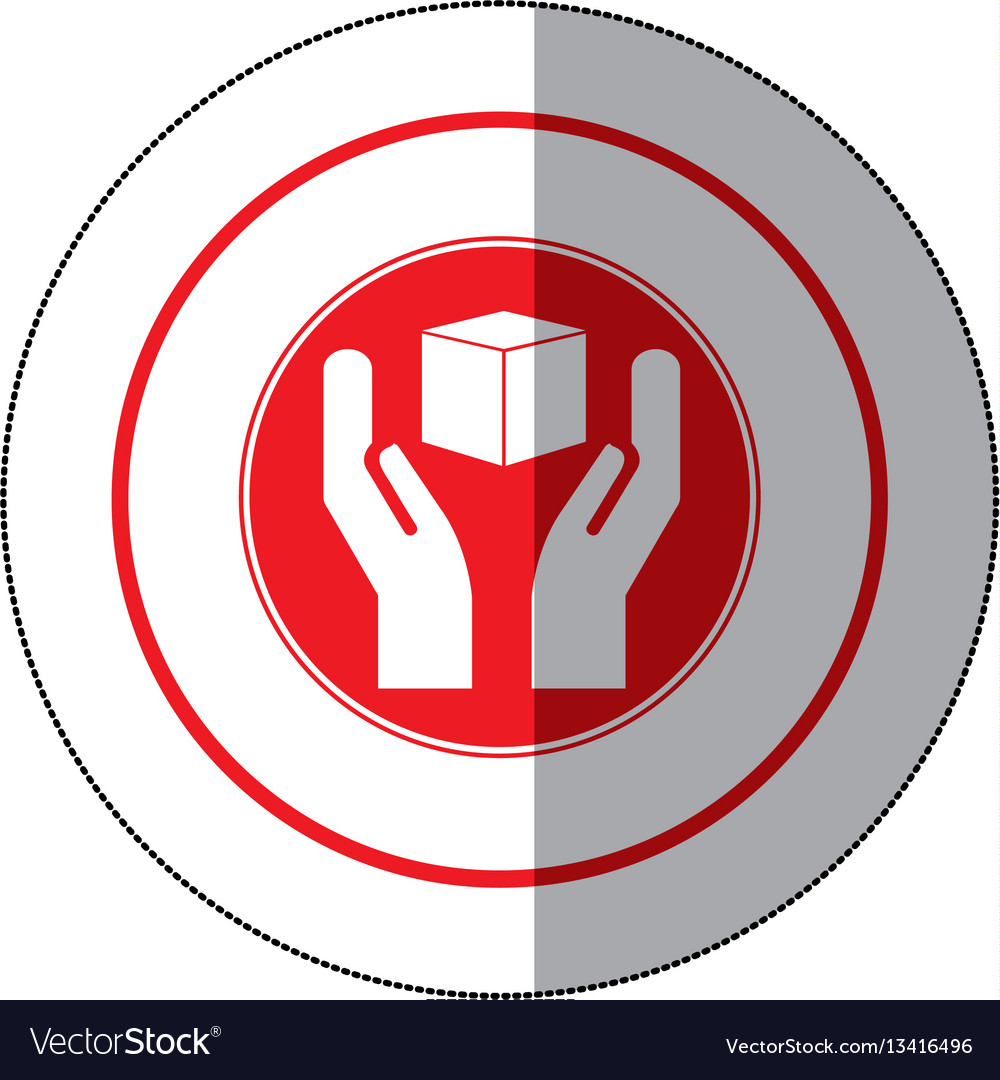 Color cube in the hands emblem icon vector image